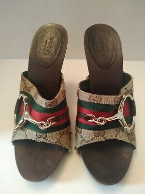 e55503adf $535 Gucci Monogram Icon Bit High Heel Clogs smooth wooded insole Preowned