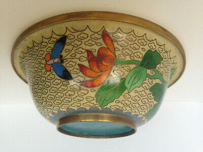 Antique Vintage Chinese Cloisonne Enamel Bowl Chrysanthemums & Butterfly Bowl