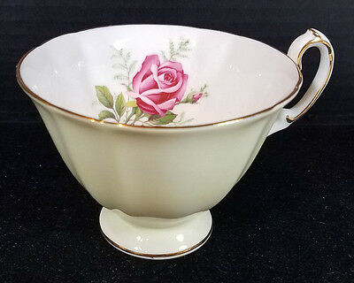 Vtg Paragon Warranted Teacup Tea Cup Her Majesty the Queen Yellow with Pink Rose