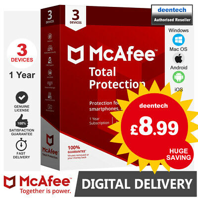 McAfee Total Protection 2020 (3 User) Multi Devices PC/Mac Genuine License Key