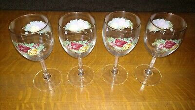 Lot of 4 Royal Albert Old Country Roses 12 oz. Goblets