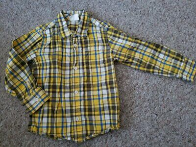 CRAZY 8 Yellow Plaid Button Front Long Sleeved Shirt Boys Size 4T