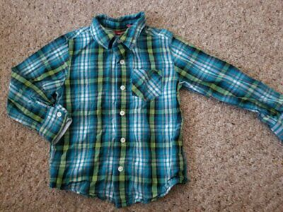 ARIZONA Blue Plaid Button Front Long Sleeved Shirt Boys Size 4T