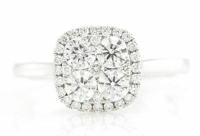 14K White Gold Cushion 0.87ct Cluster Halo Natural Diamond Engagement Ring