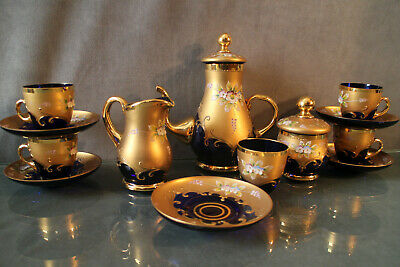 Coffee Service Murano Venice Decor Enamelled Background Gold Blue Cobalt