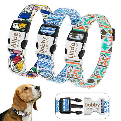 Personalised Nylon Small Large Dog Collar Metal Buckle Laser Engraved Pet ID S-L