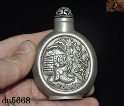 China dynasty Tibetan silver turquoise Ancient people flower snuff bottle statue
