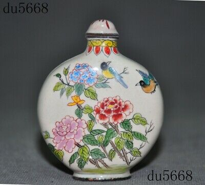 """3""""Chinese palace dynasty bronze Cloisonne peony flower bird snuff bottle statue"""