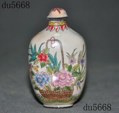 """3""""Marked Old Chinese palace dynasty Bronze Cloisonne lotus snuff bottle statue"""