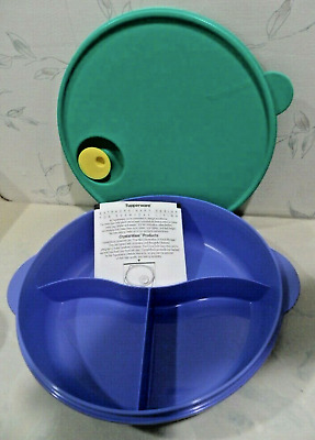 """Tupperware Crystalwave Microwave Divided Dish 11"""" Teal Green + Blue Large New"""