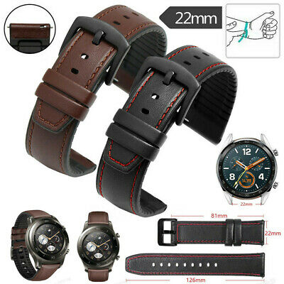 Leather+Silicone Watch Strap Band Wristband for Samsung S3 46mm Huawei GT 2 Pro
