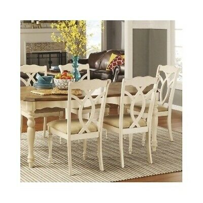 2 Wood Chairs Antique White Country Rustic Kitchen Dining Seats Beige Upholstery
