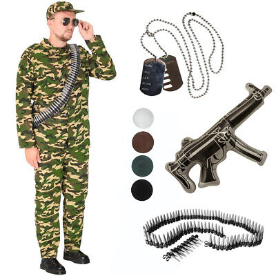 Ladies Mens Army Soldier Camo Fancy Dress Costume  Mr T Soldier A Team DOG TAG