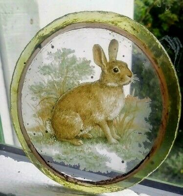 Stained Glass -  Rabbits Rabbit roundel pane Kiln fired glass window