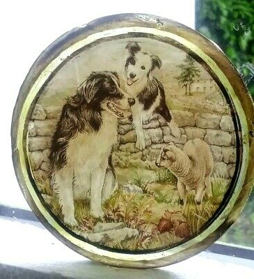 Stained Glass -  Border Collie dog dogs roundel pane Kiln fired glass window