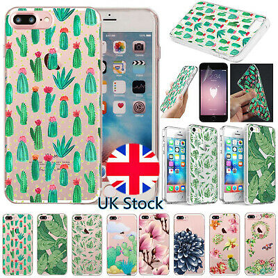 UK Plant Patterned Clear TPU Case Phone Cover For Apple iPhone 8 7 6s Plus 5s SE