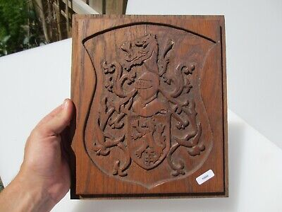 Vintage Wooden Panel Plaque Sign Old Knight Soldier Shield Crest English Lion