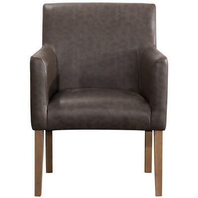 Beautiful Wood Frame Fabric Geometric Pattern Brown Faux Leather Dining Chair