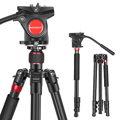 Neewer 2-in-1 Aluminum Alloy DSLR Camera Tripod 180cm with Fluid Drag Pan Head