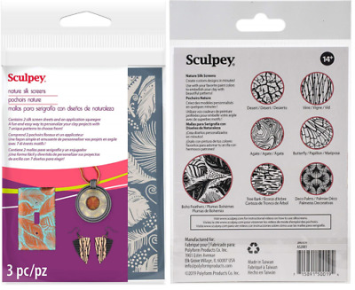 SCULPEY Polymer Clay SILK SCREEN Pattern Sheets NATURE Use with Acrylic Paint