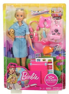Barbie Travel Doll Set With Puppy, Luggage And 10+ Accessories **BRAND NEW**