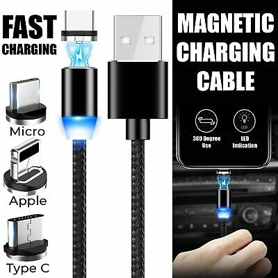 Fast Charging 2.4A Magnetic Type-C/Micro USB Charger Sync Adapter Date Cable UK