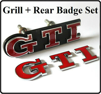 GTI Grill + Rear Badge Set Emblem Red Logo Boot Tailgate Golf Polo Car  VW (29s)