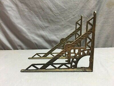 Pair Antique Cast Iron Eastlake Shelf Corbels Brackets supports Vtg 80-19J