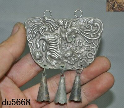 Chinese Tibetan silver wealth animal lion Phoenix Small Bell Lock Pendant Amulet