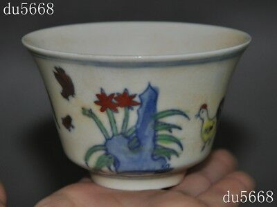 """90mm"""" China antique old Wucai porcelain carving chicken cock chick wineglass cup"""