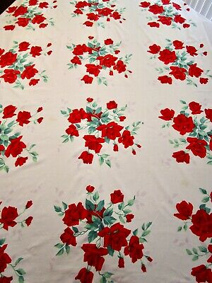 Vintage Tablecloth Wilendur American Beauty Rose Red 54 X 68 Print 50S