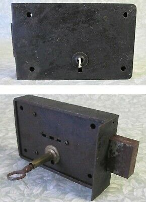Antique French LARGE 14x9 cm RIM LOCK & KEY No Latch Double Lock Action
