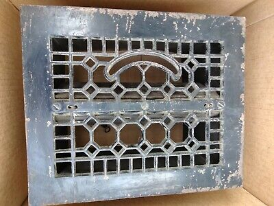 "Antique Metal Floor Grate With Vents And Springs And Sheet Metal 10"" by 12"""