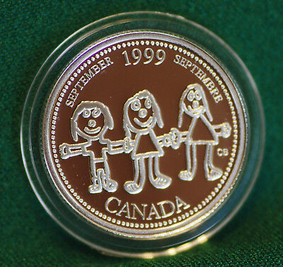 1999 CANADA Millennium Sterling Silver Quarter for September in proof finish