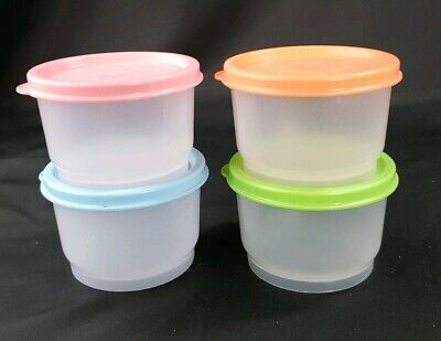 Tupperware SNACK CUP Pastel Seals Kids Lunch NEW Sheer CUPS Set of 4