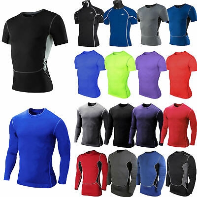 Mens Compression Skins Base Layer Sports Fitness Workout T-Shirt Tight Tops Tee