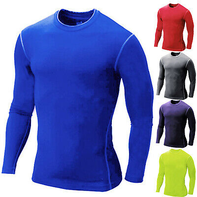 Mens Boys Compression Baselayers Thermal Under Shirt Top Skins Jersey T-shirts