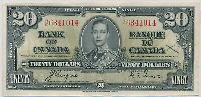 Bank Of Canada 20 Dollar 1937 He6341014 Bc25C - Ef Details