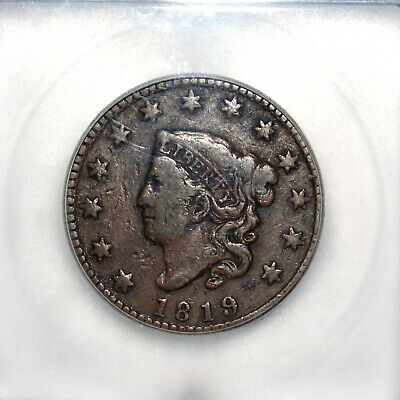 1819 US Coronet Head Large Cent  Small Date  ICG VG10 Details