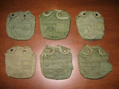 Lot of 6 USED Military canteen pouch OD green 1 quart nylon insulated olive drab