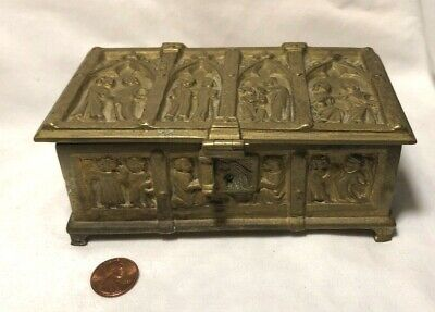 Antique Erhard & Sohne Gothic Bronze Box Germany German Religious Art Repousse