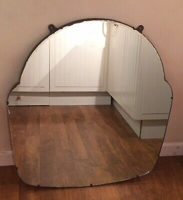 Large Over Mantle Shaped Art Deco Mirror Wooden Backed With Hooks Ready To Hang