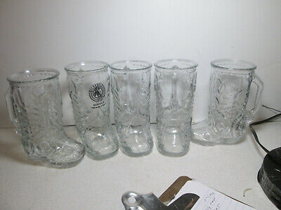 """5 - Cowboy Boot Clear Glass Mugs - Mexico Rodeo Spurs Boots Western 6.5"""" Tall"""