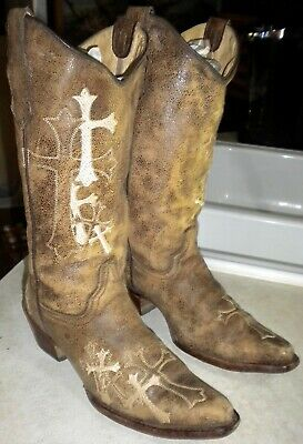f31fd0f2afd WOMENS CORRAL CIRCLE G Western Boots Brown/Beige Side Cross L5038 ...