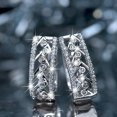 18k white gold gf made with Swarovski crystal huggies bubble earrings