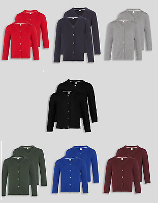 Girls 2 Pack School Cardigan Scalloped Collar Ages 3-12