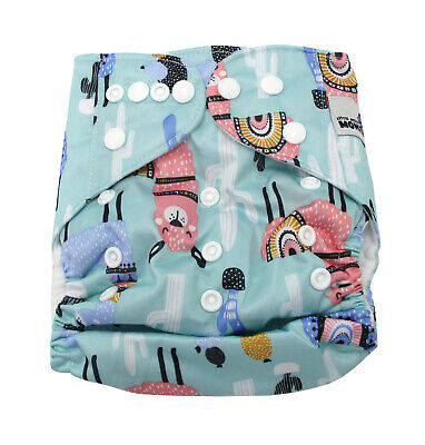 Modern Cloth Reusable Washable Baby Nappy Diaper & Insert, Llama