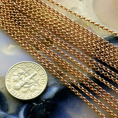 4ft Solid Brass Chain 1.6mm Brass Rolo Chain Jewelry Making Findings c147