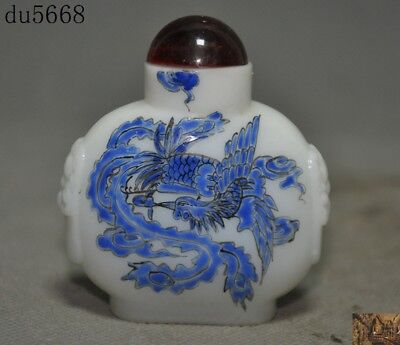 Old Chinese dynasty glass Painted lucky animal Phoenix bird statue snuff bottle