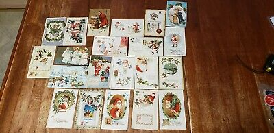Vintage Lot Of Early 1900s Merry Christmas Postcards Santa Claus